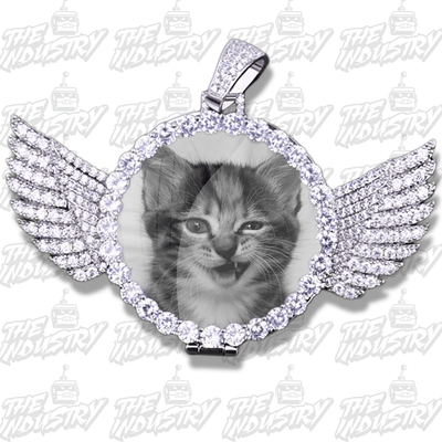 Custom Photo Pendant w/Wings + Necklace