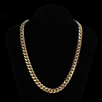 18K Gold Finish 12mm Cuban Chain Necklace With 1ct Lab Cubic Zirconia Clasp