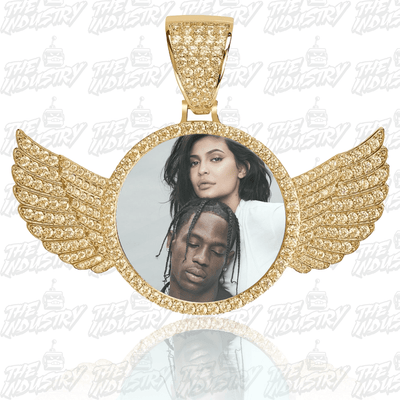 Gold / Rope chain / 18inch Custom Photo Pendant w/ Wings + Necklace - Industry Pieces