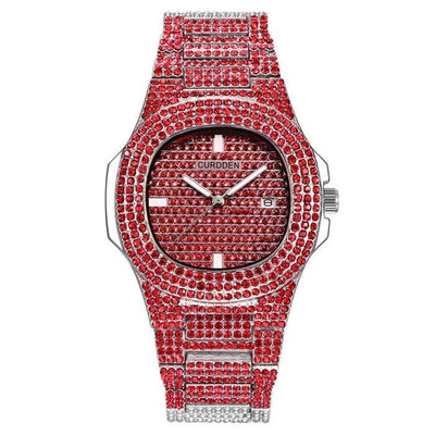 Red 🛍️ 💗 BUSSDOWN Iced Out Watch - Industry Pieces