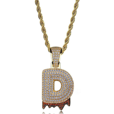 Drip Bubble Letter Pendants (Gold Finish or Silver)