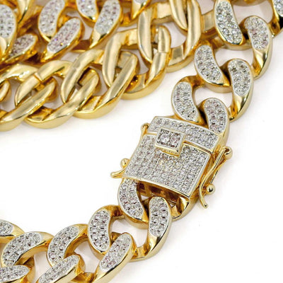 18k gold Finish 12mm Lab diamond Cuban Necklace - Industry Pieces