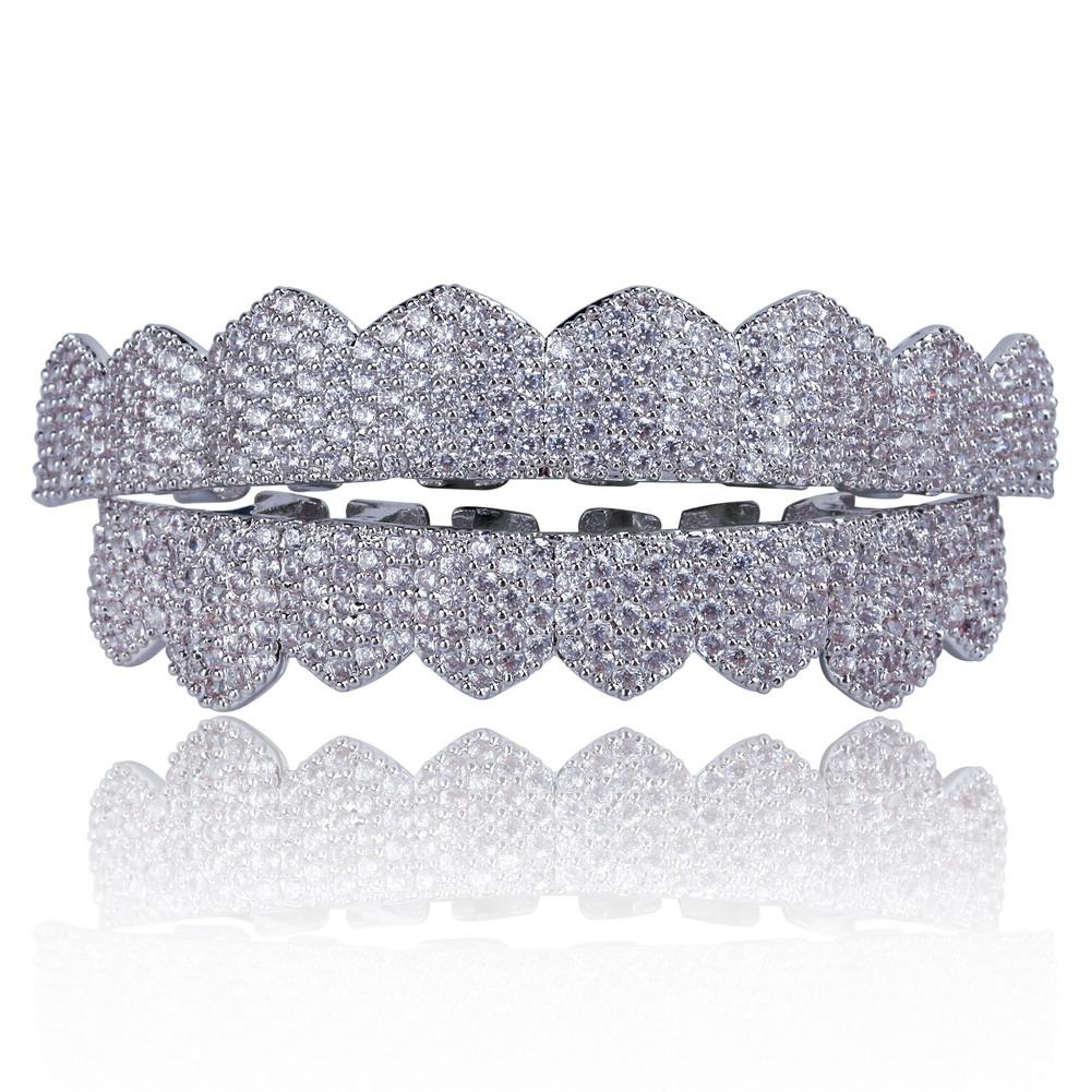 Silver Set (Pre-Made) 18K Gold/Silver Plated HQ MicroPave CZ Grillz | 8pc Top/Bottom/Set - Industry Pieces