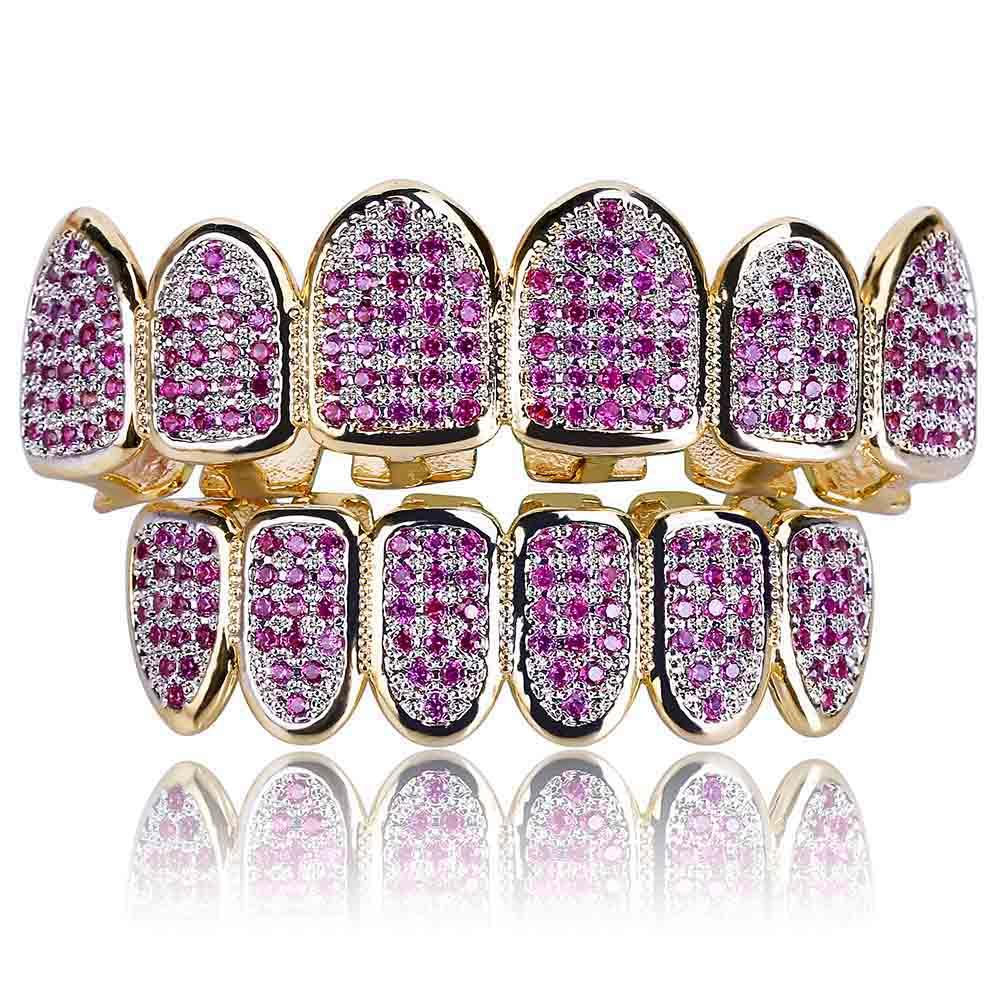 (Pre-Made) PURPLE CZ 18K Gold  Plated HQ Grillz | Top/Bottom/Set
