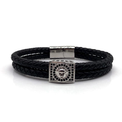 Black Pave CZ Lion Magnetic Clasp Bracelet w/Vintage Leather