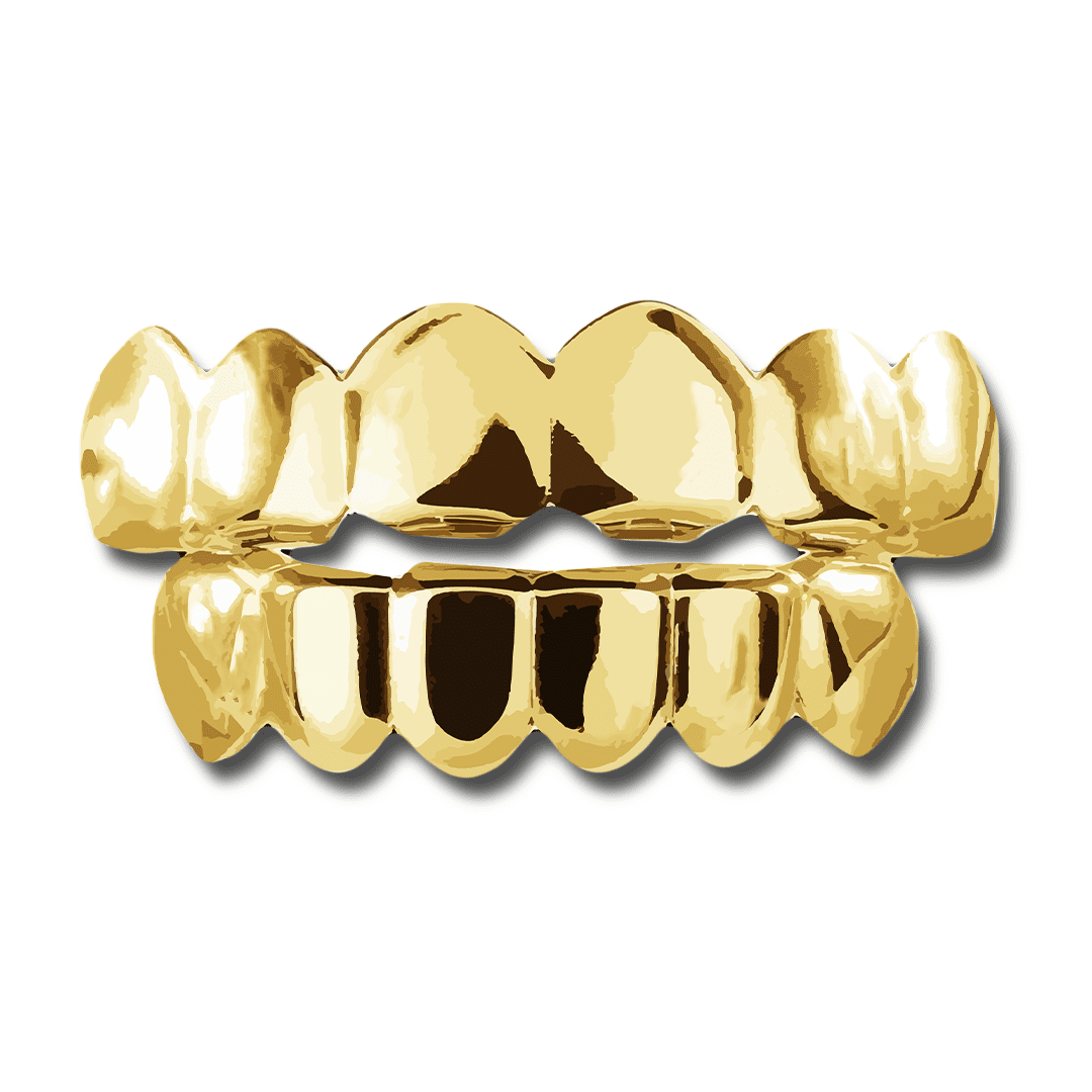 Top / Yellow Gold (Pre-Made) 14k Gold Plated Grillz | Yellow/Rose/Silver - Top/Bottom/Set - Industry Pieces
