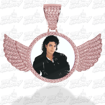 Rose gold / Rope chain / 18inch Custom Photo Pendant w/ Wings + Necklace - Industry Pieces
