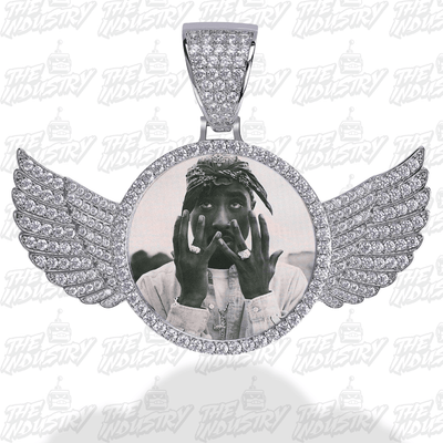 Custom Photo Pendant w/ Wings + Necklace