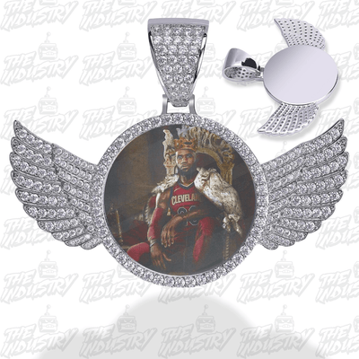 Silver / Rope chain / 18inch Custom Photo Pendant w/ Wings + Necklace - Industry Pieces