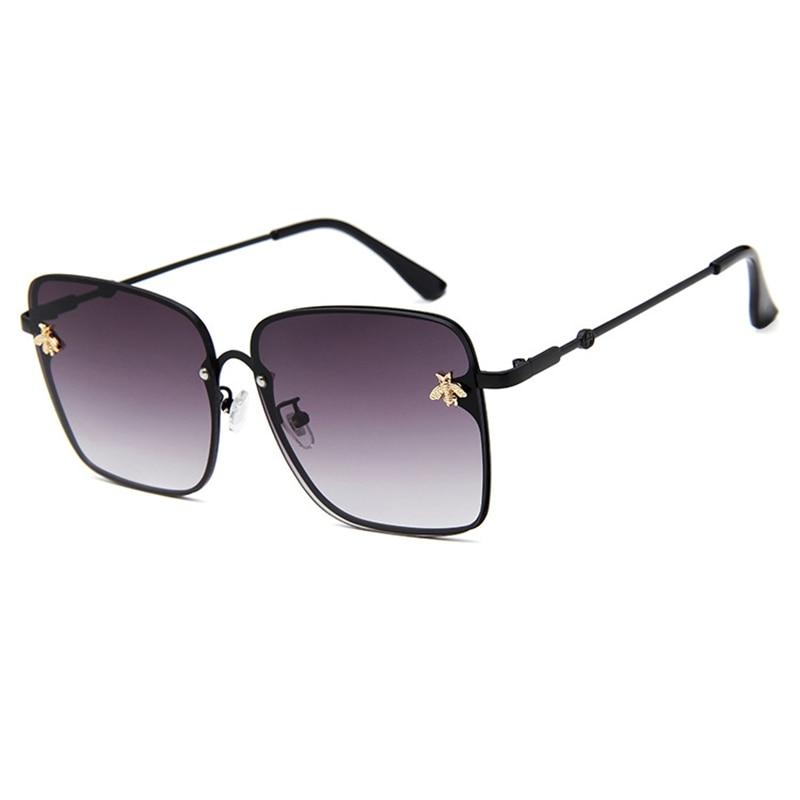 WOMEN OVERSIZE MODERN SEMI RIMLESS METAL FLAT LENS SQUARE SUNGLASSES