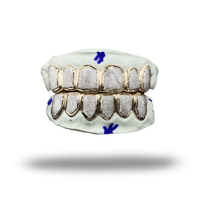(Custom) White Diamond Dust Grillz *Yellow Gold* - Industry Pieces