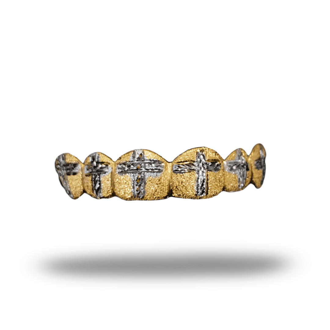 (Custom) Cross Cut Diamond Dust Gold Grillz - Industry Pieces