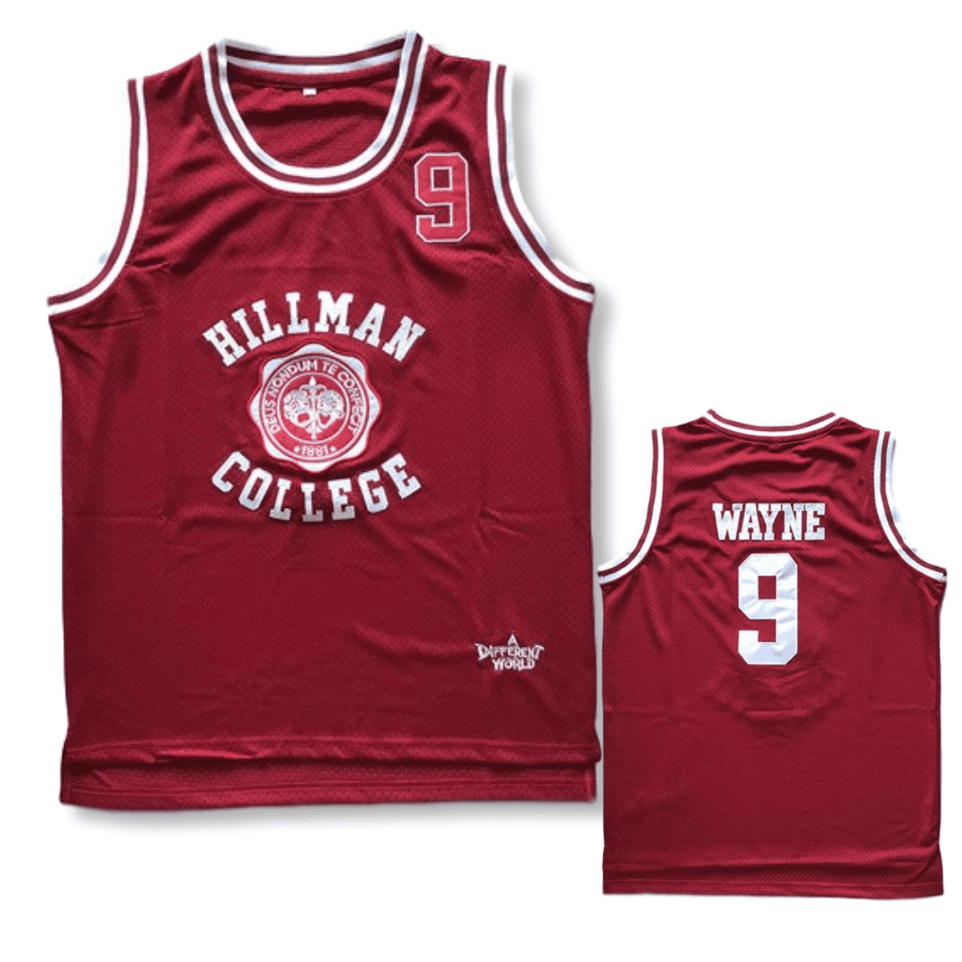 A Different World - Dwayne Wayne - #9 Hillman College Basketball Jersey - White/Red
