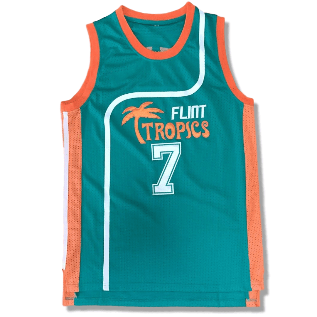 Semi Pro - Jackie Moon #33 - Coffee Black #7 Basketball Jerseys - White & Green Versions