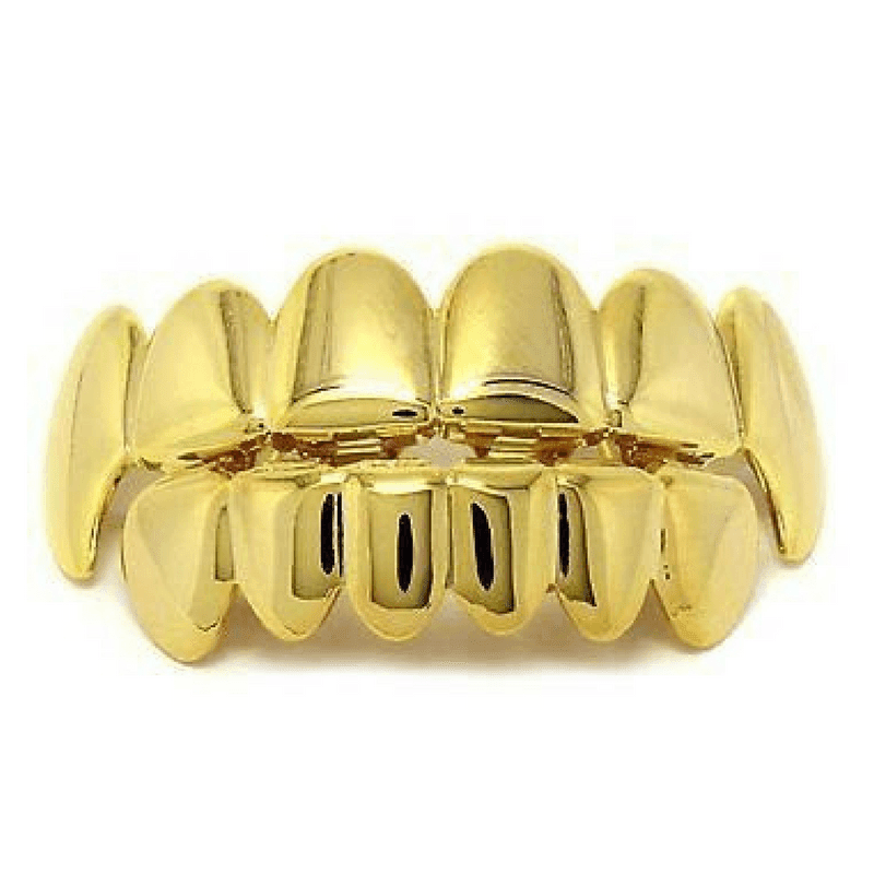 Yellow Gold (Pre-Made) 14k Gold Plated Fang Grillz | Top/Bottom/Set - Industry Pieces
