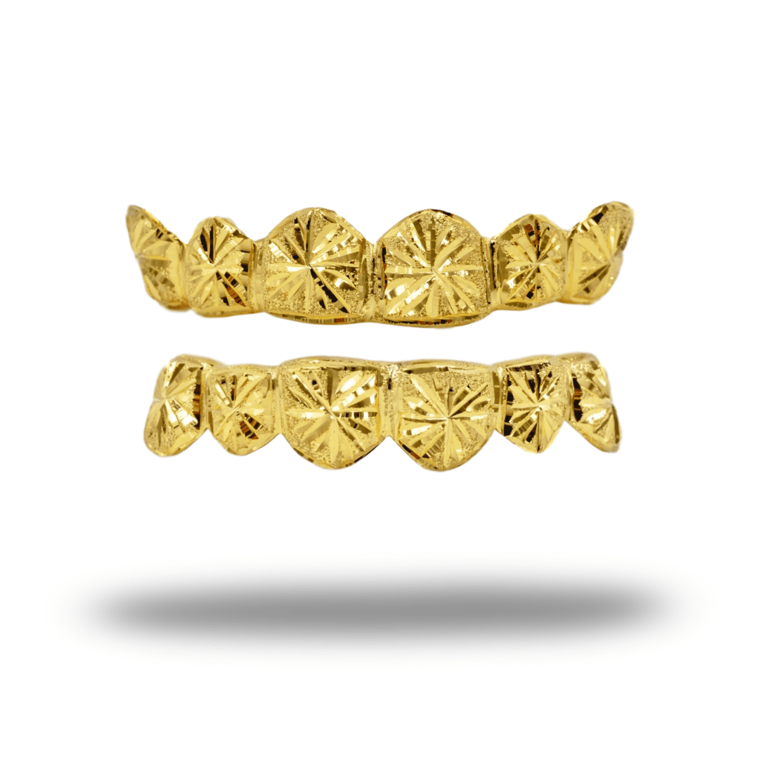 (Custom) Starburst Cut Diamond Dust Gold Grillz - Industry Pieces