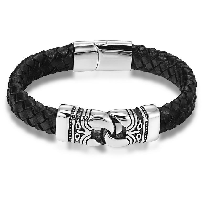 Stainless Steel Charm Leather Bracelet