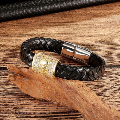 Leather CZ Skull Bracelet