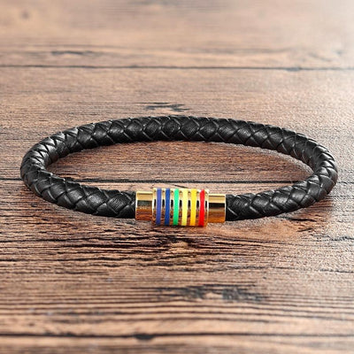 Multi-color Buckle Round Leather Bracelet (Gold and Silver)