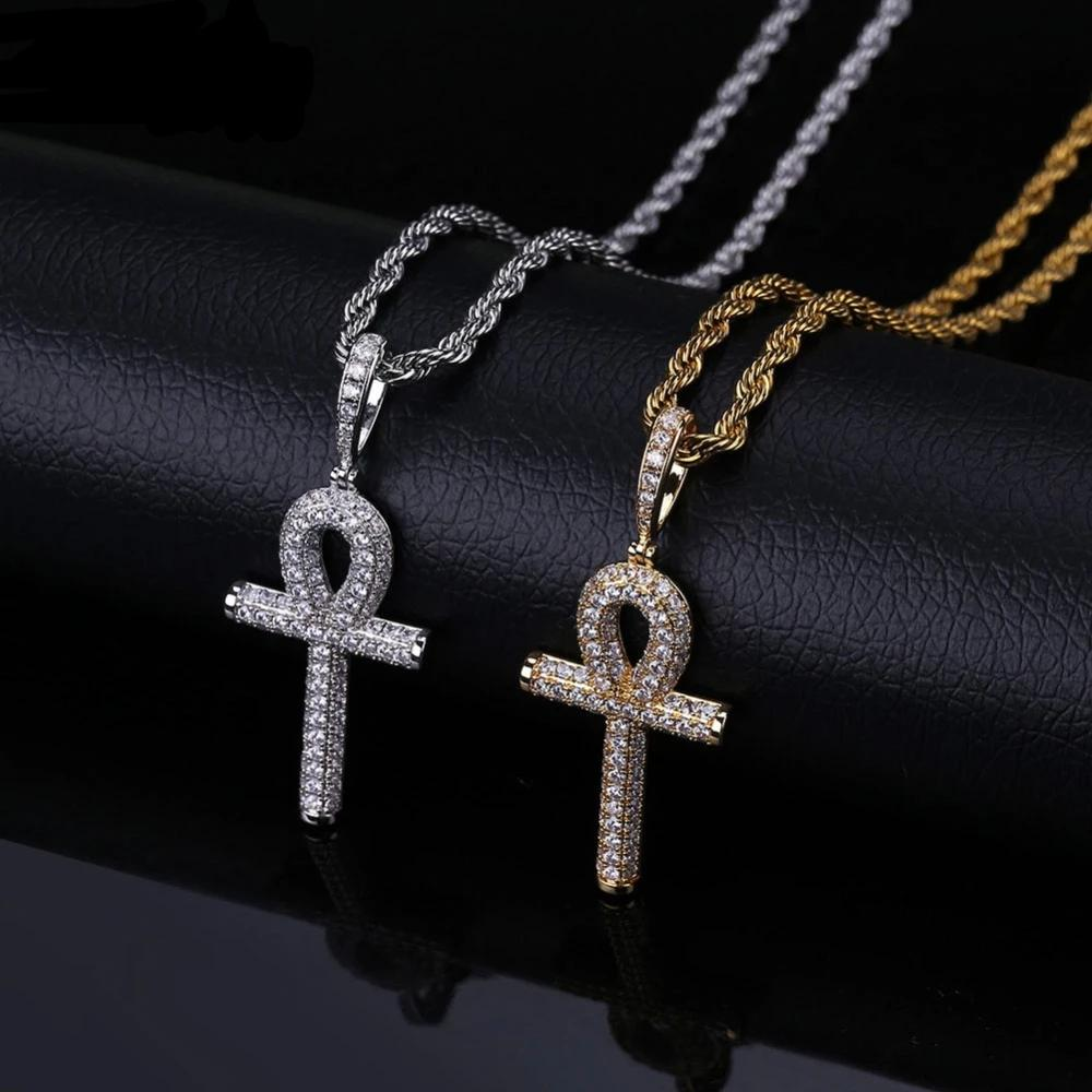 Solid Ankh Cross Egyptian Lab Diamond Pendant + Necklace
