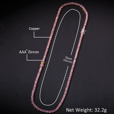 4mm Pink Lab Diamond Tennis Chains