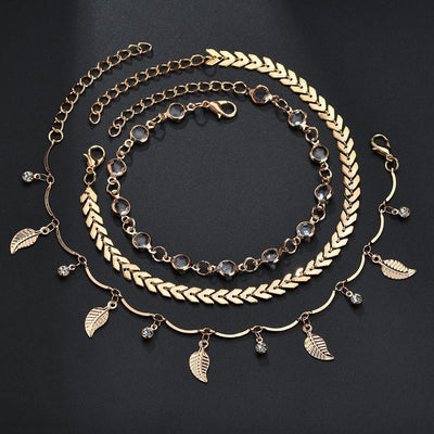 3PC/SET Leaf Anklets