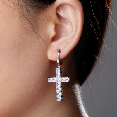 Lab Diamond Cross Earrings - Industry Pieces