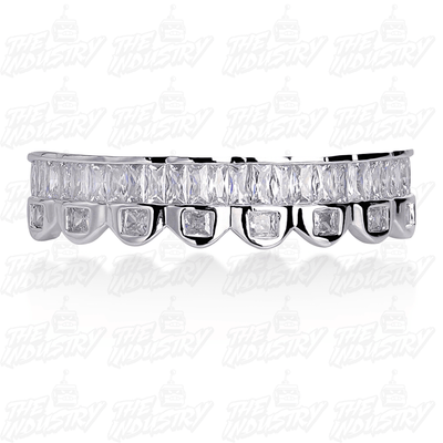 Silver Bottom 🔥 (Pre-Made) HQ Micro Pave Lab Diamond Grillz - Industry Pieces