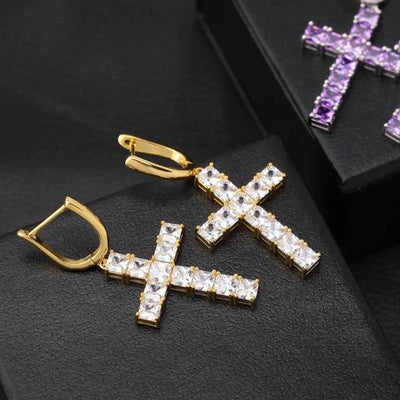 Lab Diamond Cross Earrings