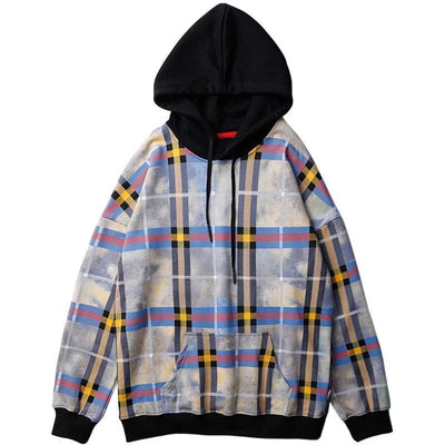 Yellow Blue Plaid Hoodie
