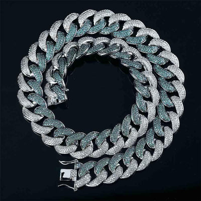 18mm Lab Diamond Mint Blue Cuban Link Chain