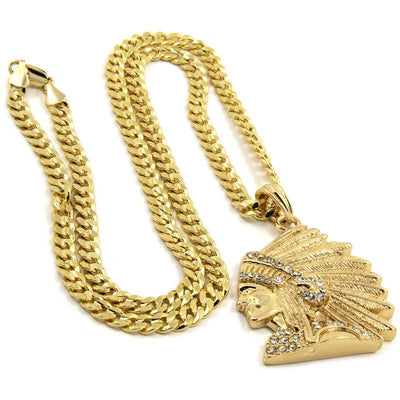 "🔥 Clearance🔥 Gold Plated Cz Indian Head + 30"" Cuban Chain Necklace"