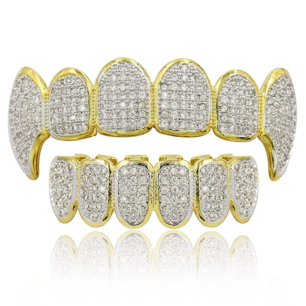 (Pre-Made) 18K Gold Plated CZ Fangs | Set