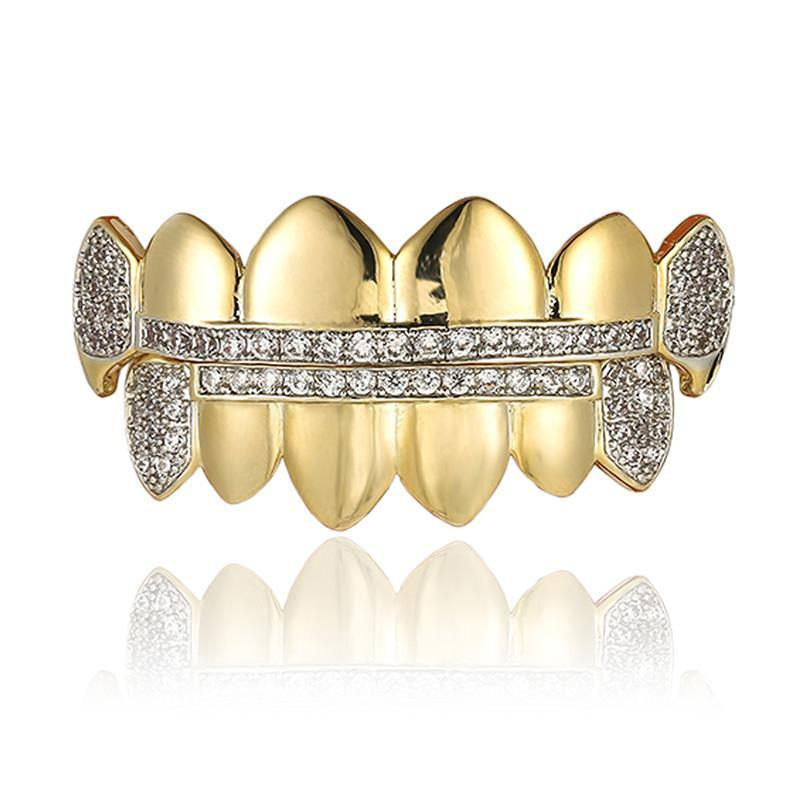 🔥(Pre-Made) 18K Gold Plated HQ MicroPave Fangz Grillz Gold/Silver | 8pc Top/Bottom/Set