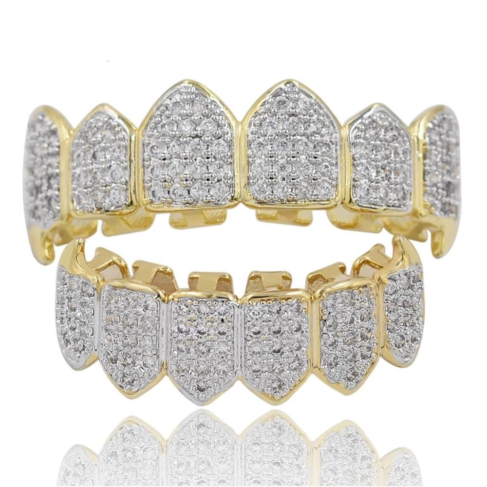 Gold Set (Pre-Made) 18K Gold Plated/Silver HQ CZ Fang Grillz | Top & Bottom - Industry Pieces