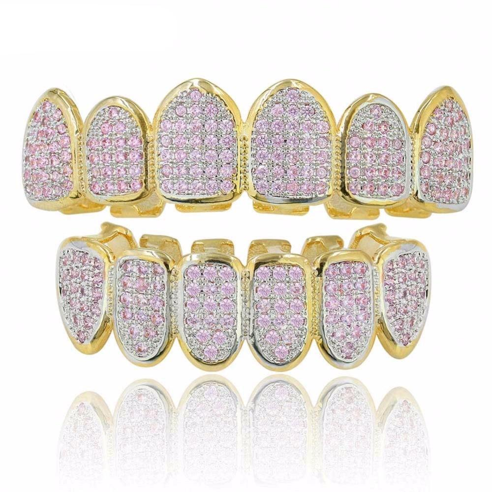 Gold Set 🔥 (Pre-Made) PINK CZ 18K Gold Plated HQ Grillz | Top/Bottom/Set - Industry Pieces