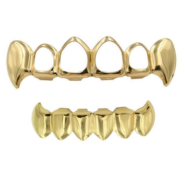 (Pre-Made) 14k Gold Plated Open Face Fangs - Multiple Colors