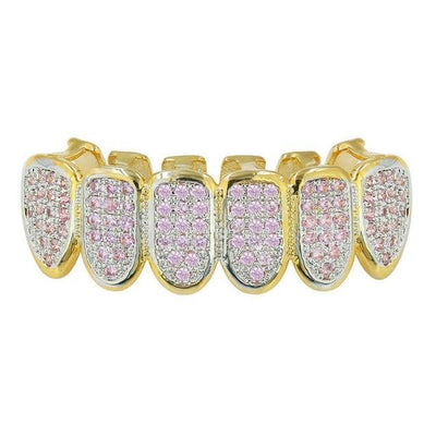 🔥 (Pre-Made) PINK CZ 18K Gold  Plated HQ Grillz | Top/Bottom/Set