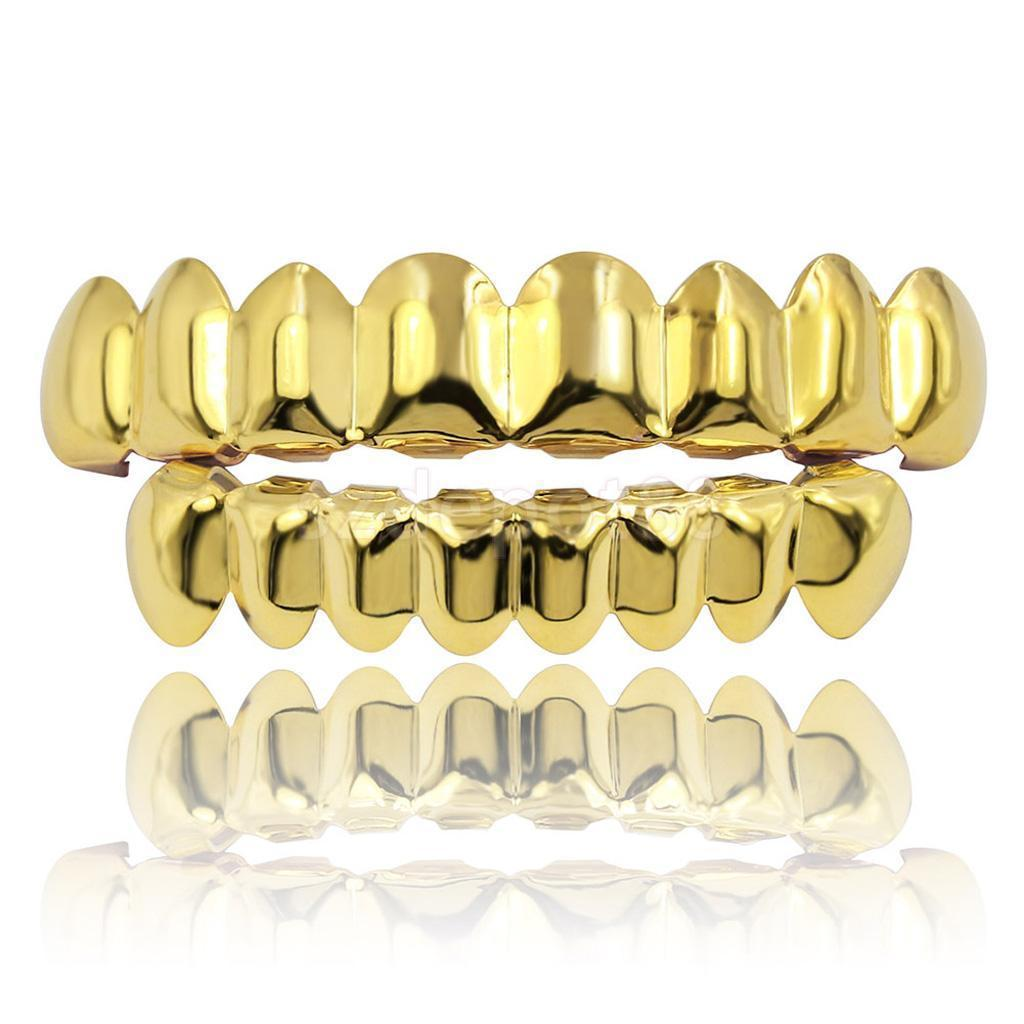 (Pre-Made) 8pc/14k Gold Plated Grillz | Top/Bottom/Set - Industry Pieces