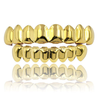 (Pre-Made) 8pc/14k Gold Plated Grillz | Top/Bottom/Set