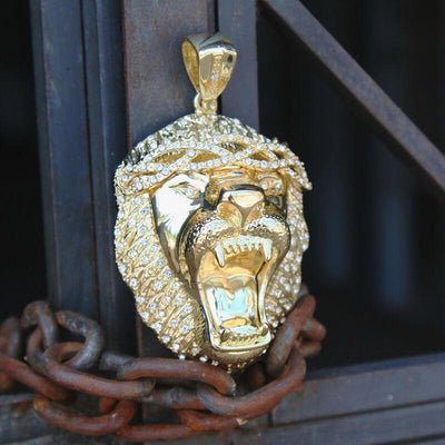"🔥 Clearance🔥Gold Plated Gorilla Pendant + 16mm 18"" Fully Cz Cuban Chain"