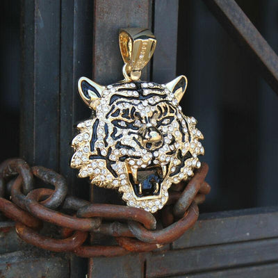 "🔥 Clearance🔥 Gold Plated Tiger Hip Hop Pendant + 16mm 18"" Fully Cz Cuban Chain"
