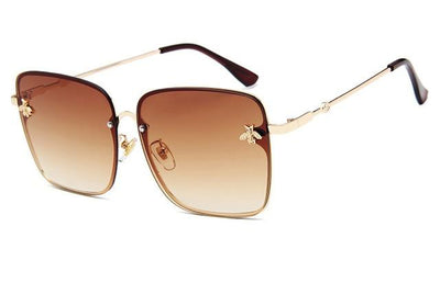 Gold Clear Brown WOMEN OVERSIZE MODERN SEMI RIMLESS METAL FLAT LENS SQUARE SUNGLASSES - Industry Pieces