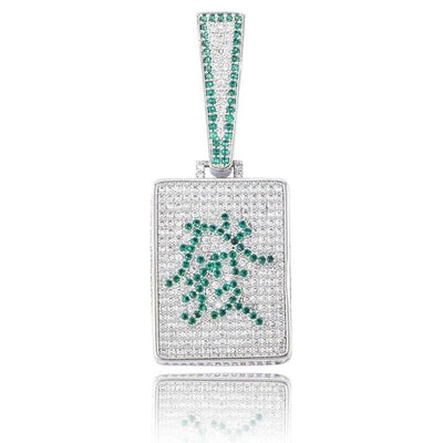 Lab Diamond Chinese Mah Jong FA Rich Pendant Necklace