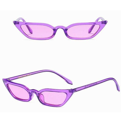 WOMENS TRANSLUCENT CAT EYE SUNGLASSES COLOR TINTED LENS