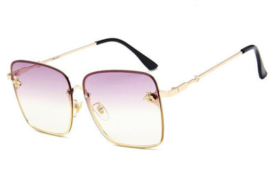 Gold Clear Purple WOMEN OVERSIZE MODERN SEMI RIMLESS METAL FLAT LENS SQUARE SUNGLASSES - Industry Pieces