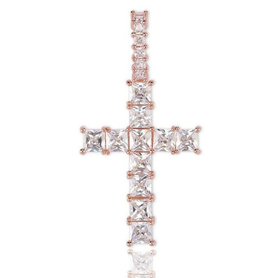 Lab Diamond Baguette Cross Pendant Necklace