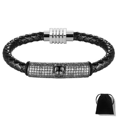 Micro Pave Skull Leather Bracelet