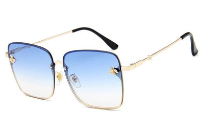 Gold Clear Blue WOMEN OVERSIZE MODERN SEMI RIMLESS METAL FLAT LENS SQUARE SUNGLASSES - Industry Pieces