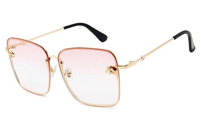 Gold Clear Pink WOMEN OVERSIZE MODERN SEMI RIMLESS METAL FLAT LENS SQUARE SUNGLASSES - Industry Pieces